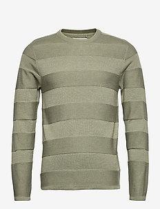Pullover - rundhalsad - oil green