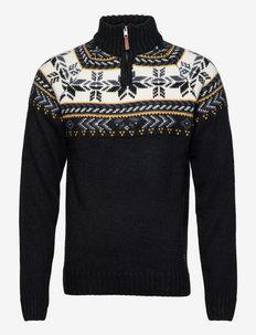 Pullover - half zip - black