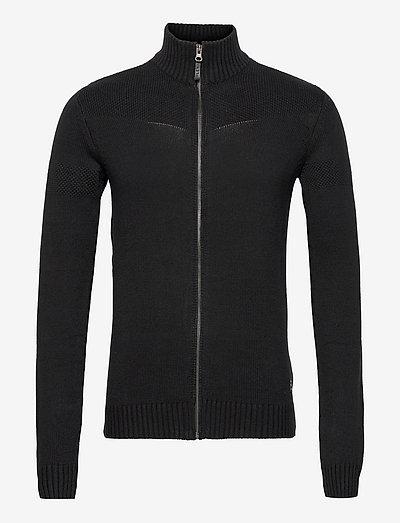 LarkhillBH Zipthrough pullover - basic strik - black