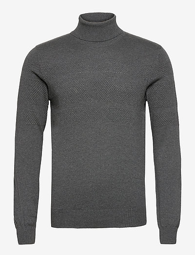 Pullover - col roulé - charcoal mix