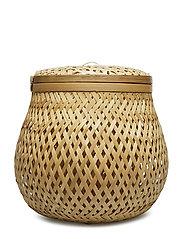 Basket w/Lid, Nature, Bamboo - NATURE