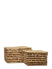 Basket w/Lid, Nature, Water hyacinth - NATURE