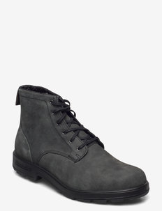 BL LACE UP LEATHER BOOT - med snøring - rustic black