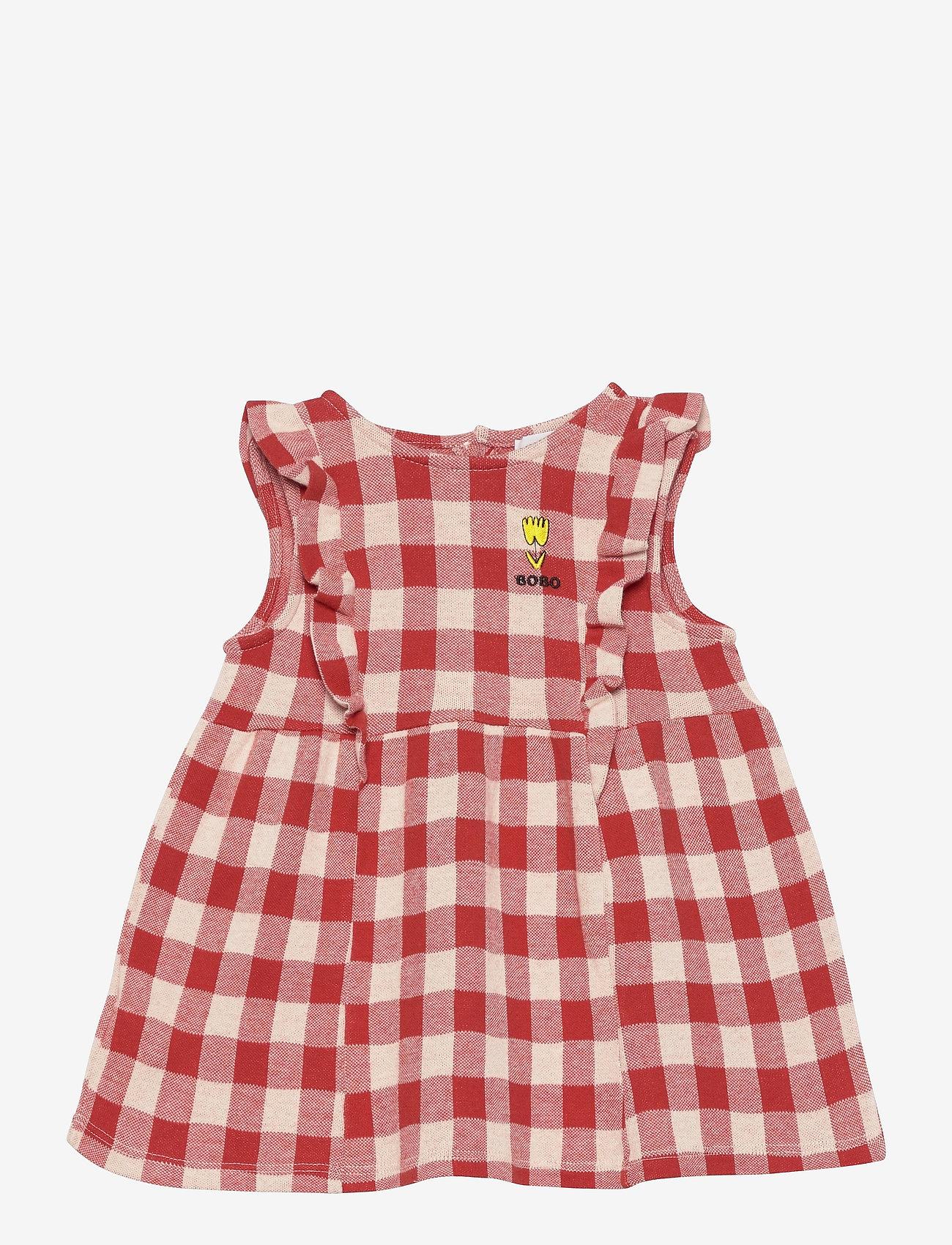 Bobo Choses - Vichy All Over Jersey Ruffle Dress - jurken & rokjes - dusty pink - 0