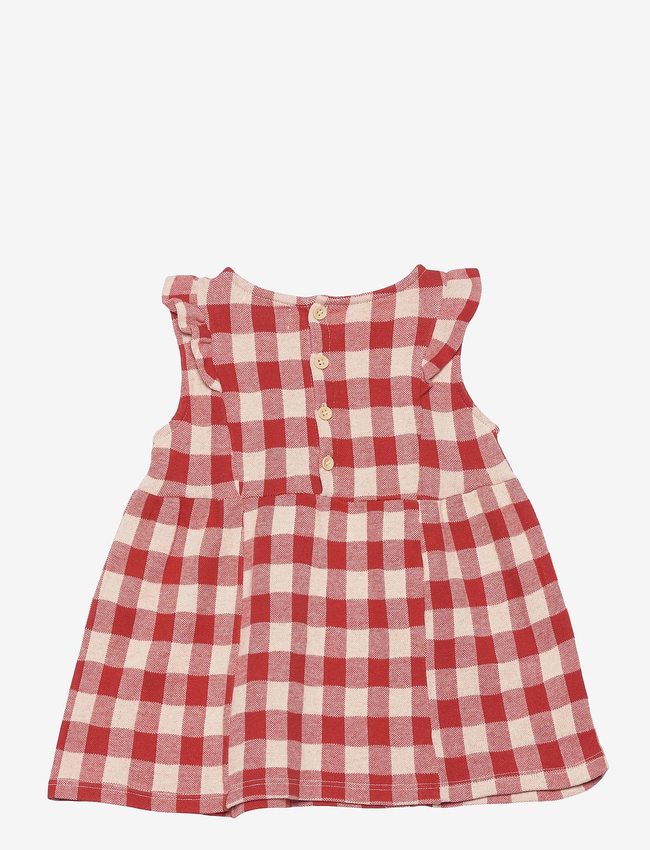 Bobo Choses - Vichy All Over Jersey Ruffle Dress - jurken - dusty pink - 1
