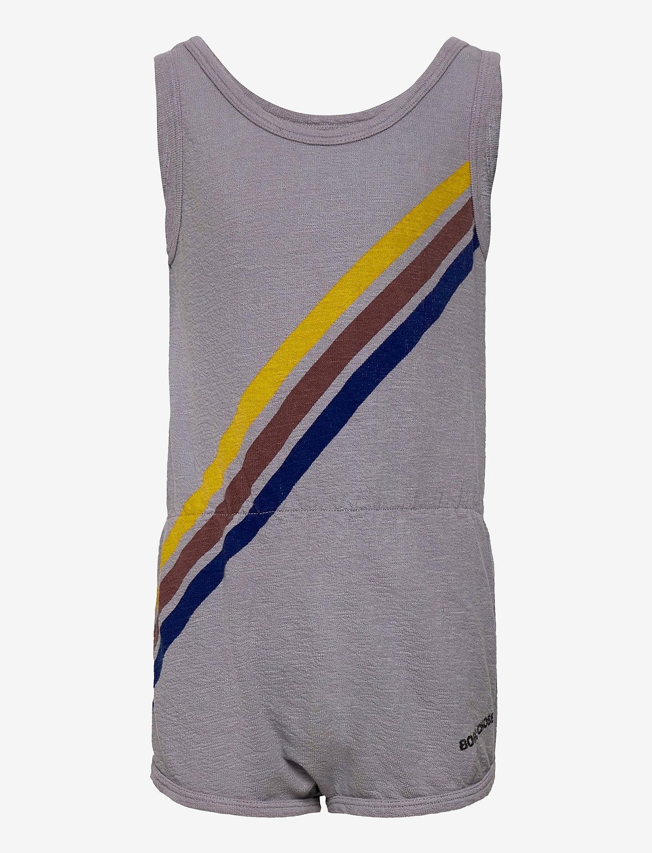 Bobo Choses - Crosswise Stripes Fleece Playsuit - kurzärmelig - lavender aura - 0