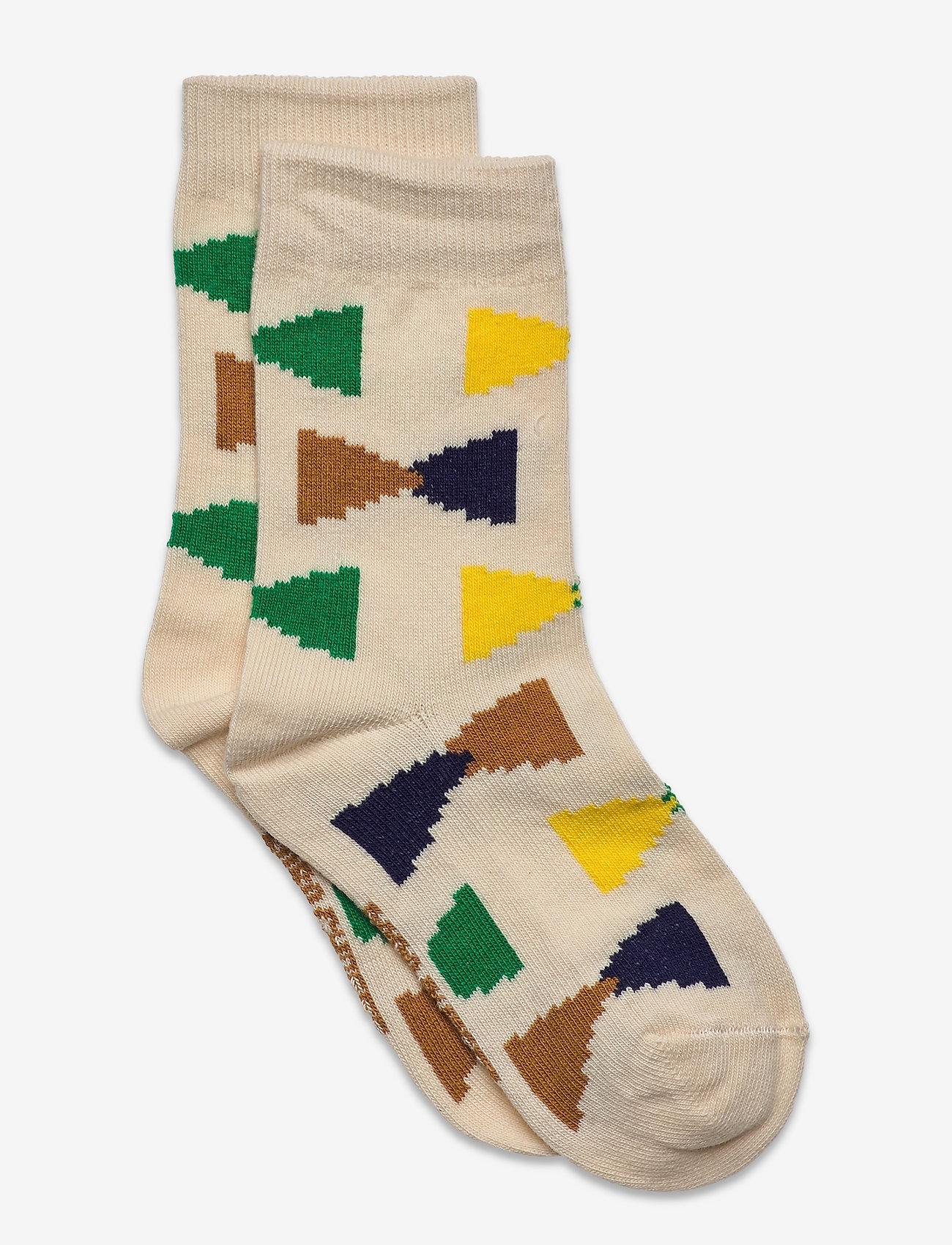 Bobo Choses - Ecru Geometric short socks - skarpetki - rainy day - 0