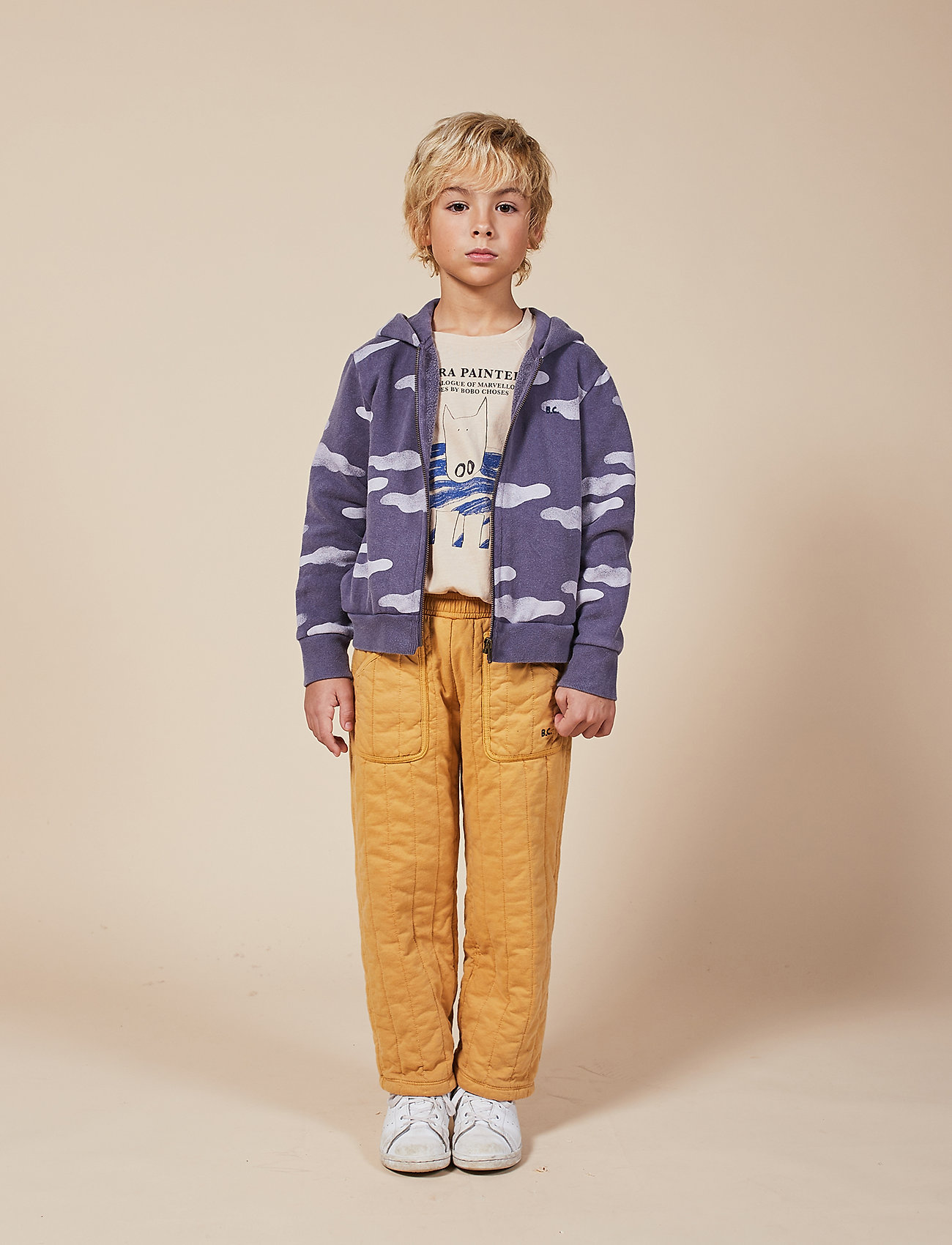 Bobo Choses - Clouds All Over Zipped Hoodie - hættetrøjer - grape compote - 0