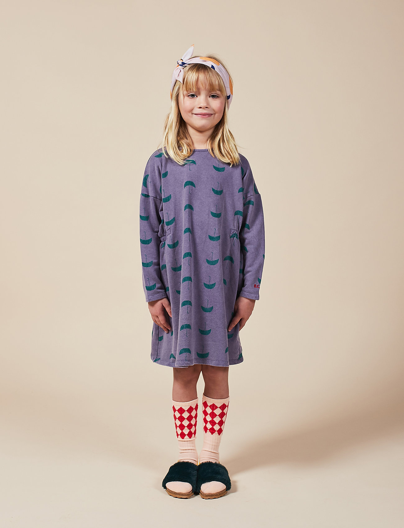 Bobo Choses - Umbrella All Over Fleece Dress - kjoler - grape compote - 0