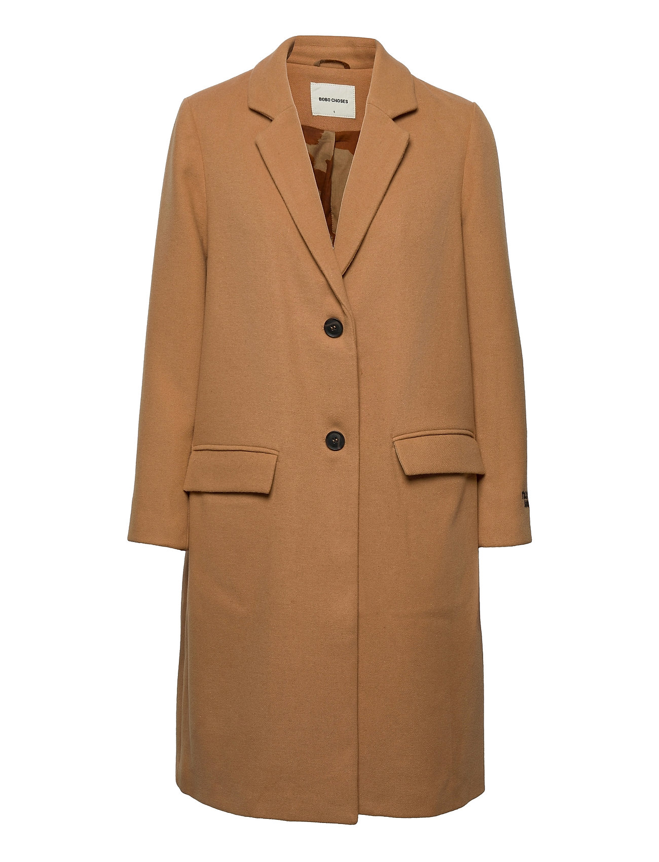 Wool-Mix Lapel Coat Uldfrakke Frakke Brun Bobo Choses