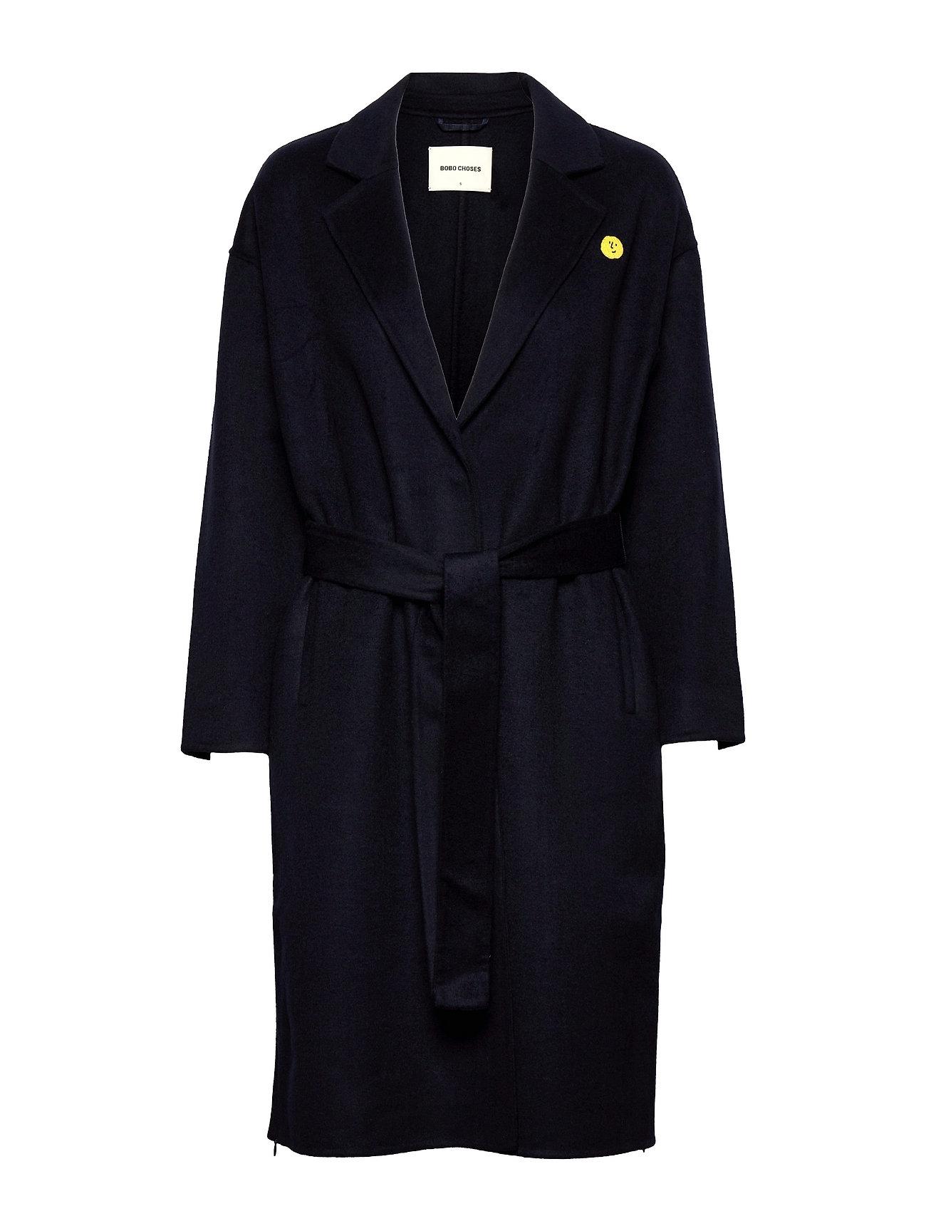 Wool-Mix Double Face Long Coat Uldfrakke Frakke Blå Bobo Choses