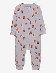 Bobo Choses - Chocolate Flowers All Over Rib Overall - langärmelig - lavender aura - 0