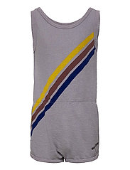 Crosswise Stripes Fleece Playsuit - LAVENDER AURA