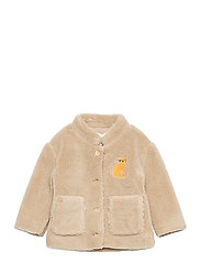 Cat Patch Sheepskin Jacket - BROWN RICE