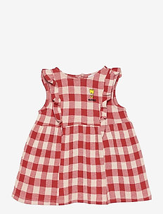Vichy All Over Jersey Ruffle Dress - kleider - dusty pink