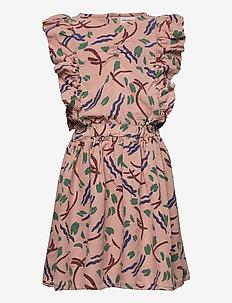 Strokes All Over Ruffle Dress - kleider - lavender aura