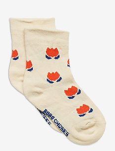 Red Chocolate Flowers Short Socks - strumpor - turtledove