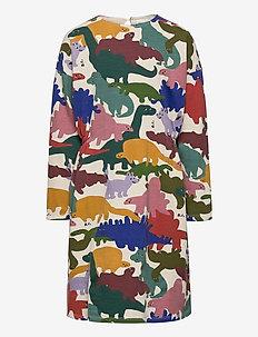Dinos All Over Fleece Dress - robes - brown rice