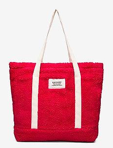 Large Sheepskin Hand Bag - shopping - red