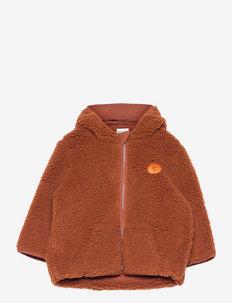 Face embroidery hooded sheepskin jacket - faux fur - tandoori spice