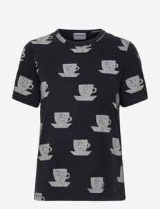 Cup of Tea Print Organic Cotton T-shirt - t-shirt & tops - twilight blue