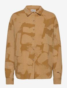 Painting Printed Collar Shirt - long-sleeved shirts - soybean
