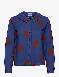 Flower Print Flat Collar Shirt - long-sleeved shirts - royal blue