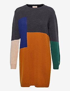 Colorblock Merino Wool Knitted Dress - jumpers - inca gold