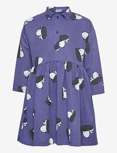 Doggie All Over woven buttoned dress - jurken & rokjes - royal blue