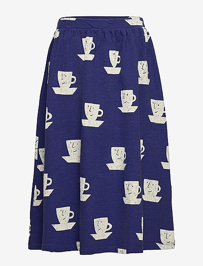 Cup Of Tea All Over midi skirt - kjoler & nederdele - royal blue