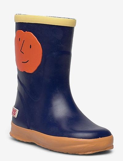 Orange Faces rain boots - uforede gummistøvler - twilight blue