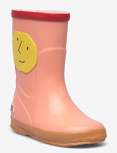 Yellow Faces rain boots - uforede gummistøvler - mesa rose