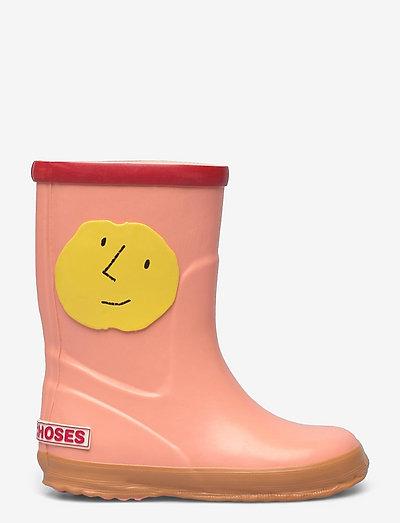 Yellow Faces rain boots - rubberlaarzen zonder voering - mesa rose