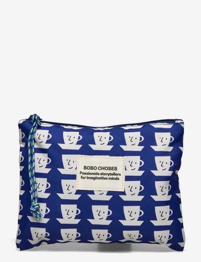 Cup of Tea Print Mini Pouch - purses - twilight blue