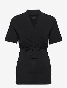 Lounge wrap top - kortärmade blusar - black