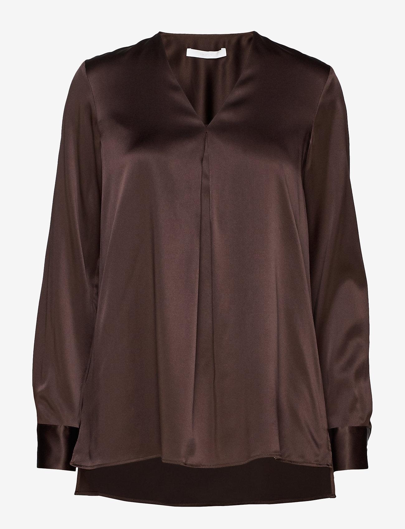 BOSS - Bintu - langærmede bluser - dark brown - 0