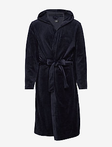 Velour Hooded Gown - DARK BLUE