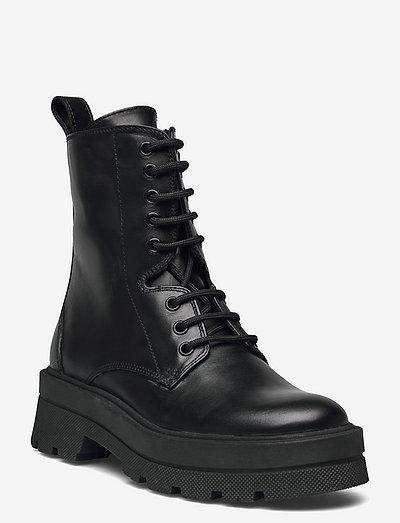 Denory Laceup B-C - flade ankelstøvler - black