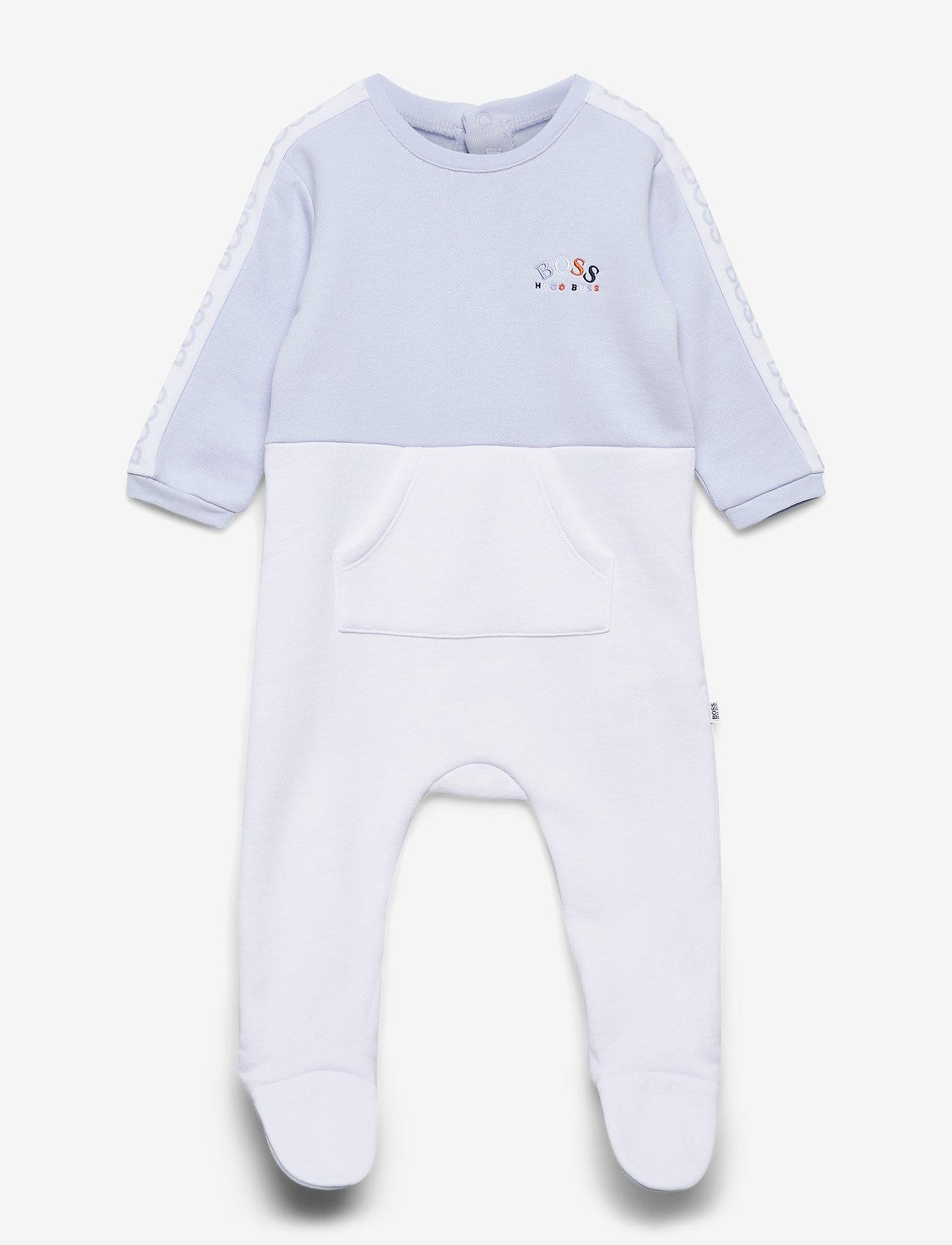 BOSS - PYJAMAS + PULL ON HAT SET - langärmelig - pale blue  white - 0