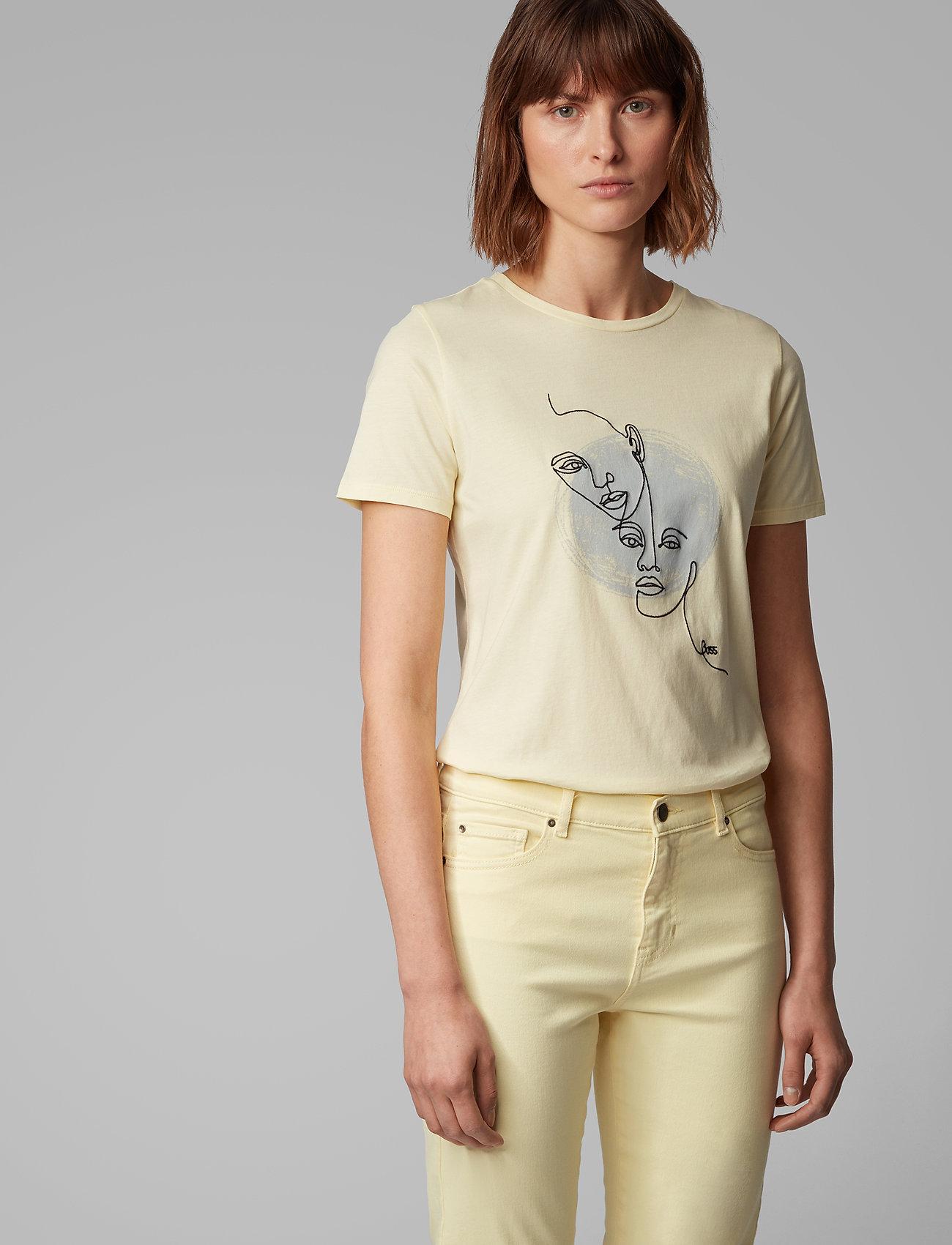 BOSS - Tevision - t-skjorter med trykk - light/pastel yellow