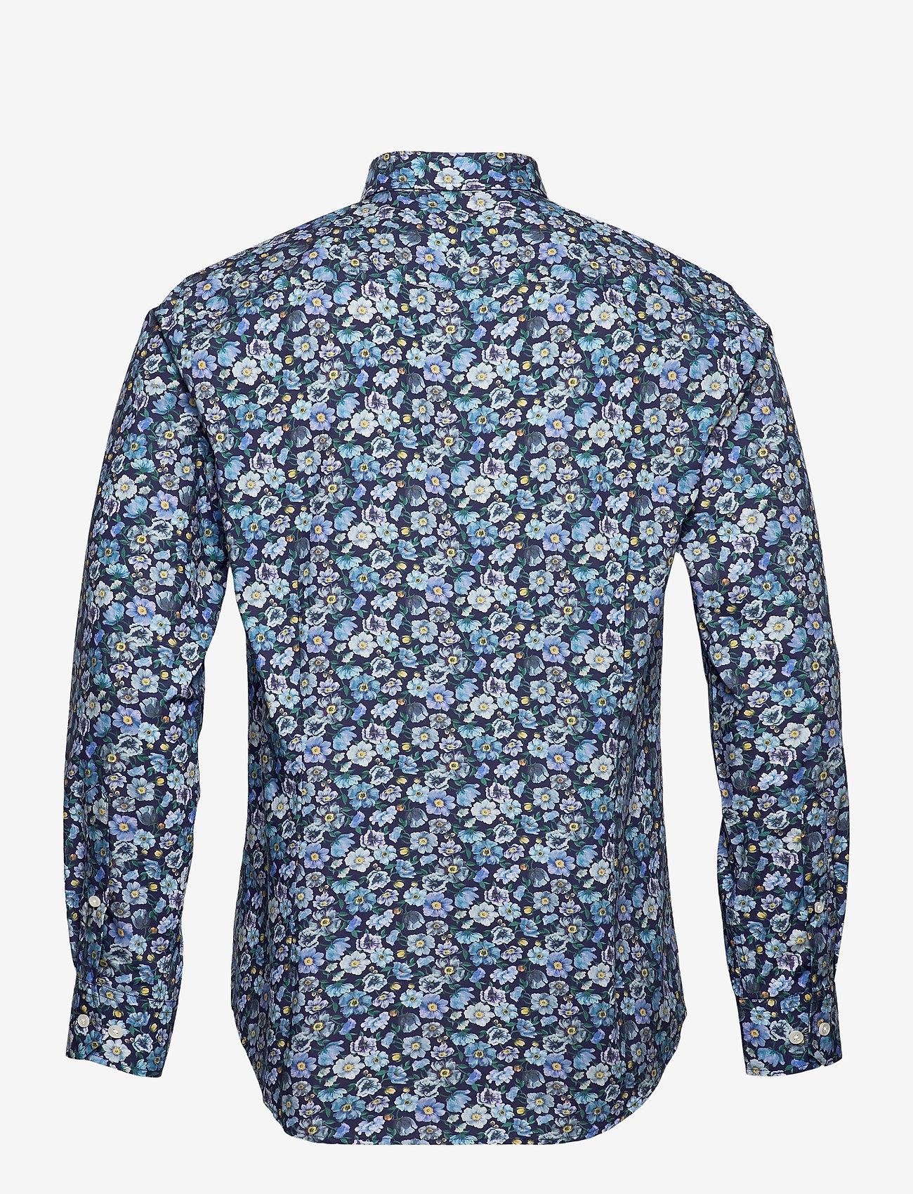 Bosweel Shirts Est. 1937 - Blue flowers on navy - chemises d'affaires - dark blue - 1