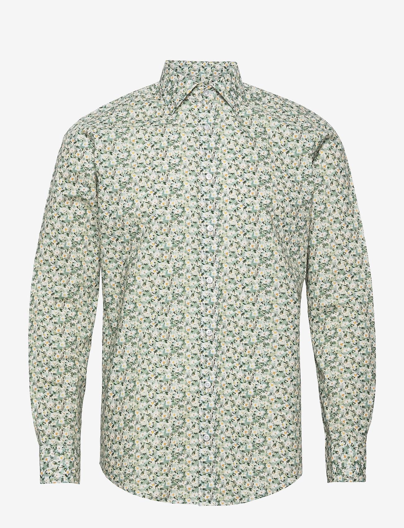 Bosweel Shirts Est. 1937 - White flowers in green - chemises d'affaires - green - 0