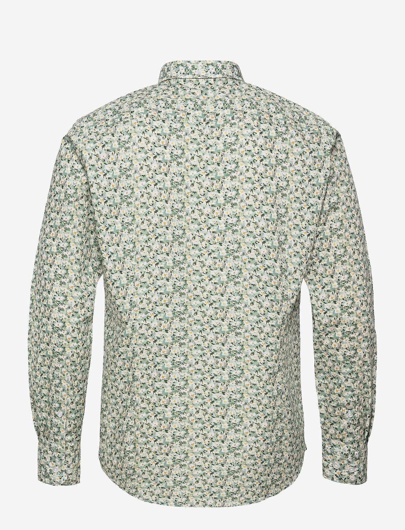 Bosweel Shirts Est. 1937 - White flowers in green - chemises d'affaires - green - 1