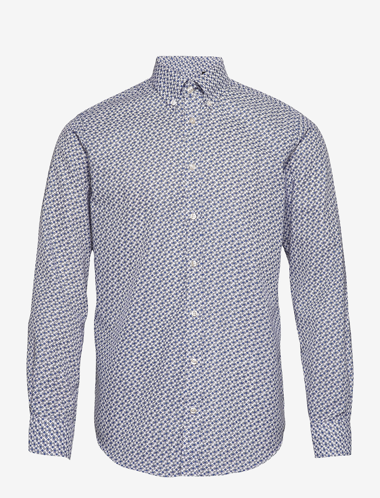 Bosweel Shirts Est. 1937 - Small flowers on white Oxford - chemises décontractées - blue - 0