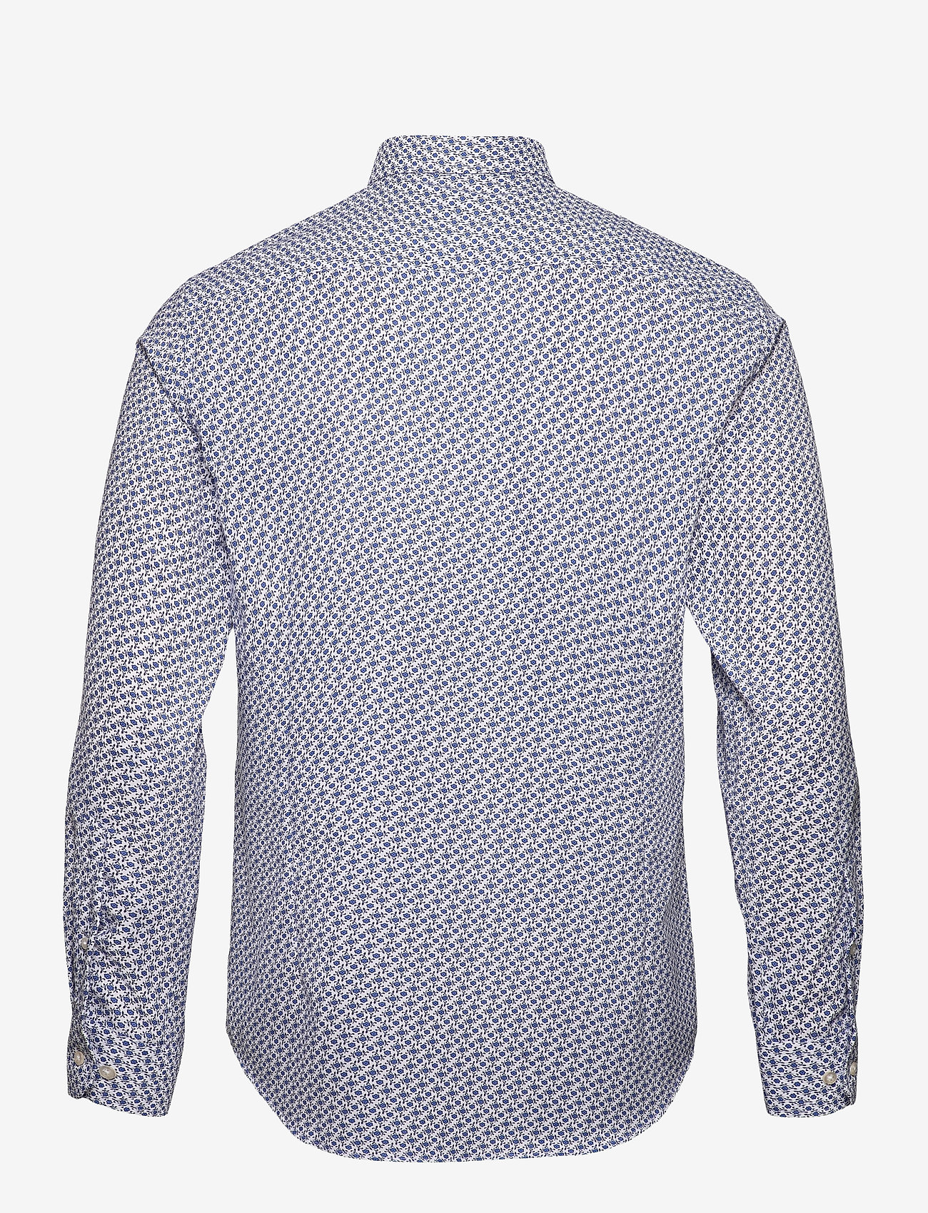 Bosweel Shirts Est. 1937 - Small flowers on white Oxford - chemises décontractées - blue - 1