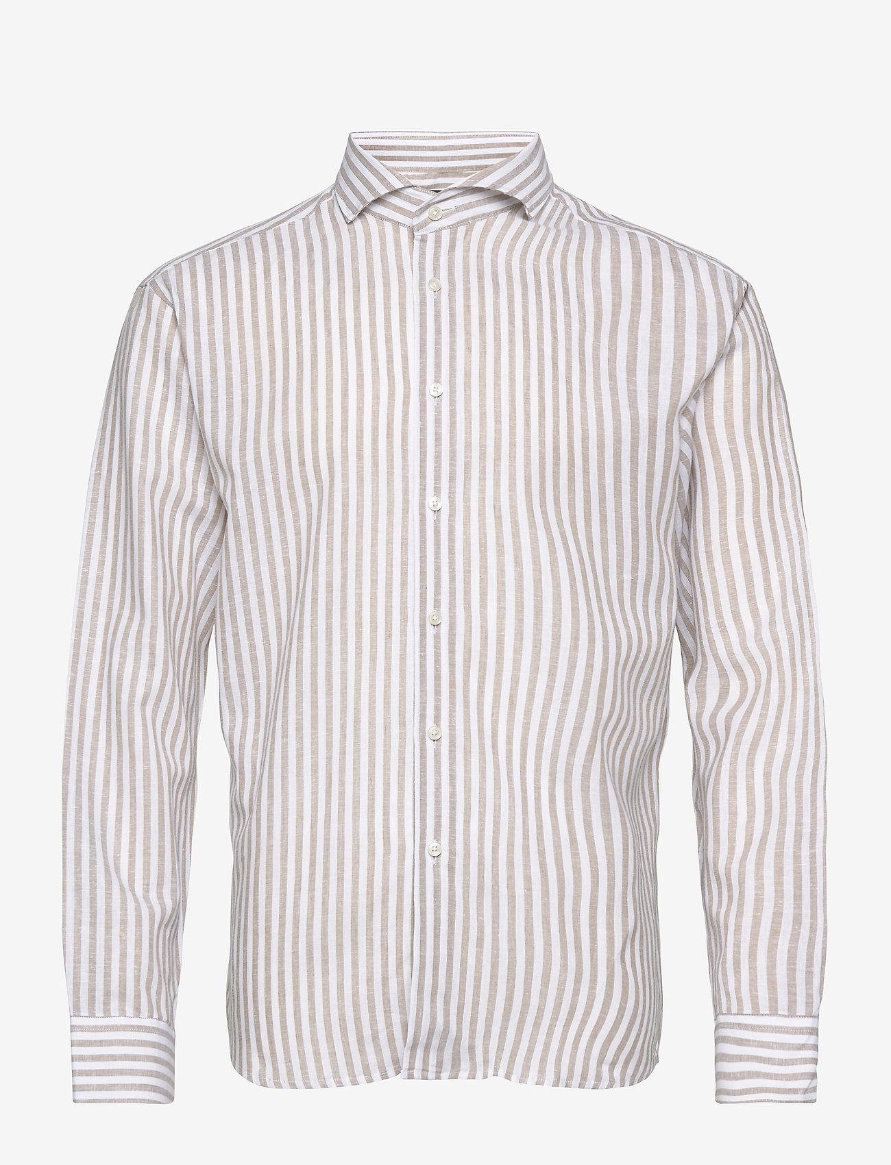 Bosweel Shirts Est. 1937 - Blue stripes on linen cotton - chemises de lin - beige - 0
