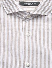 Bosweel Shirts Est. 1937 - Blue stripes on linen cotton - chemises de lin - beige - 2