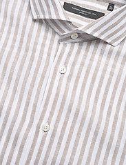 Bosweel Shirts Est. 1937 - Blue stripes on linen cotton - chemises de lin - beige - 3