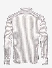 Bosweel Shirts Est. 1937 - Blue stripes on linen cotton - chemises de lin - beige - 1