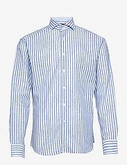 Blue stripes on linen cotton - BLUE